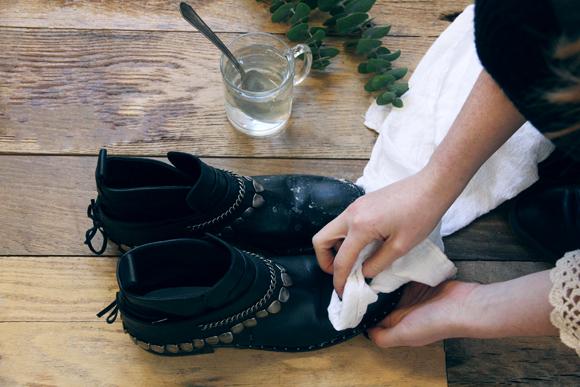 удаление остатков мазута с обуви